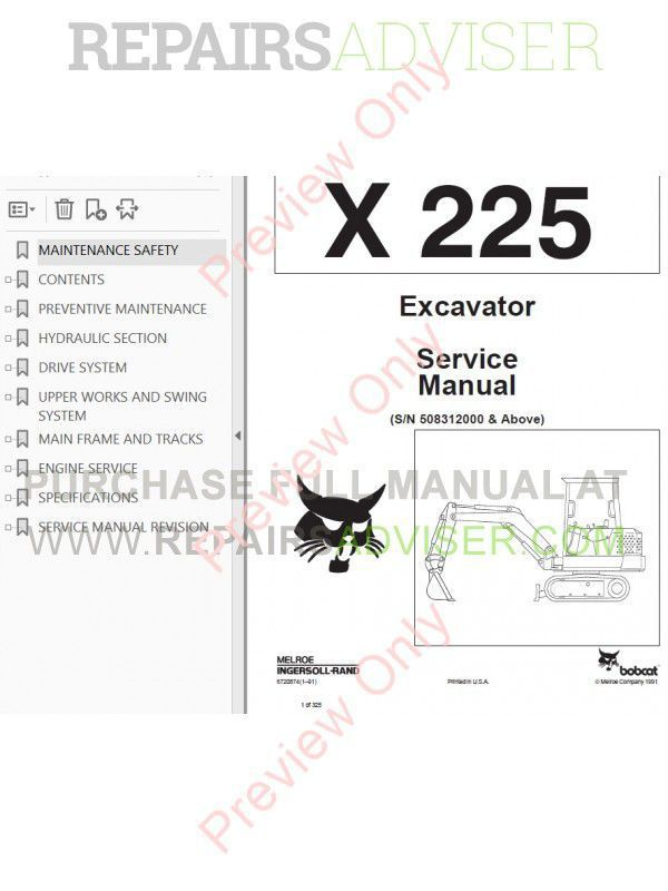 Bobcat X 225 Hydraulic Excavator Service Manual PDF Download