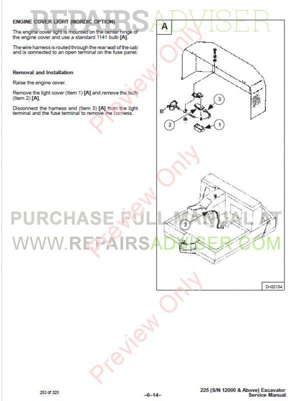 Bobcat X 225 Hydraulic Excavator Service Manual PDF Download