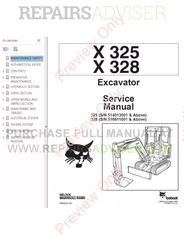Bobcat X 325, X 328 Excavator Service Manual PDF Download