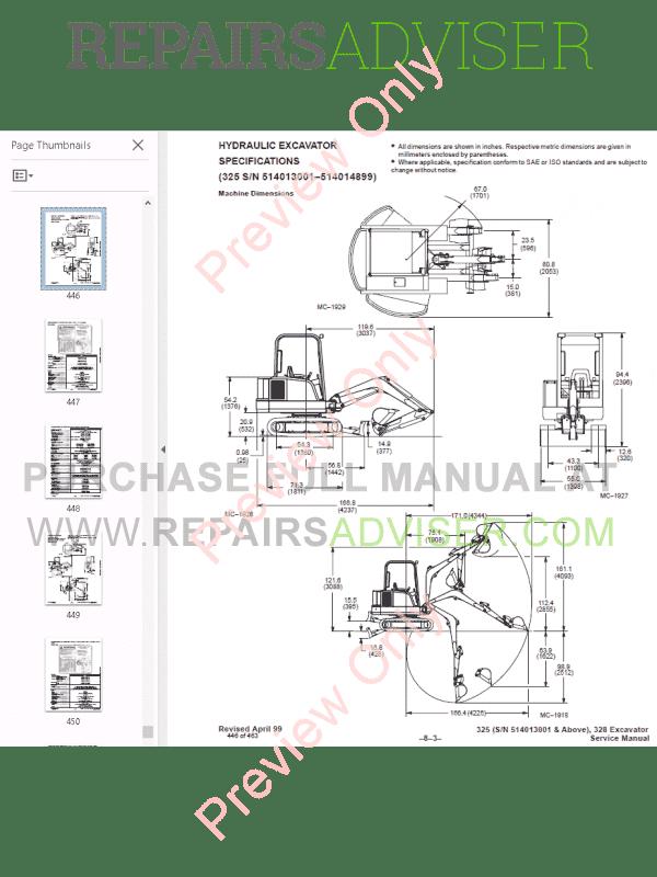 Bobcat X 325, X 328 Excavator Service Manual PDF Download