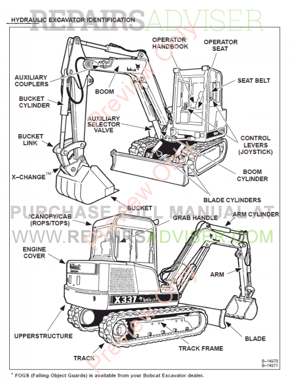 Bobcat X 337, X 341 Excavator Service Manual PDF Download