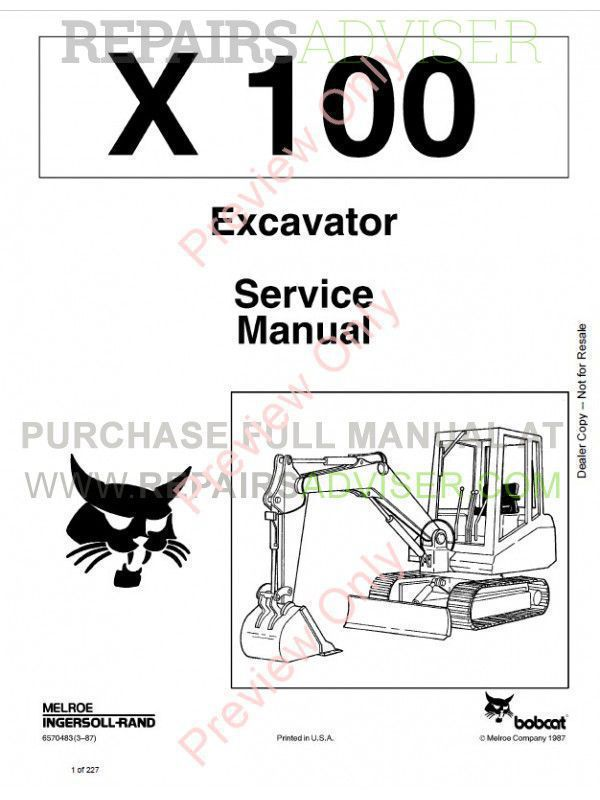 Bobcat X 100 Excavator Service Manual PDF Download