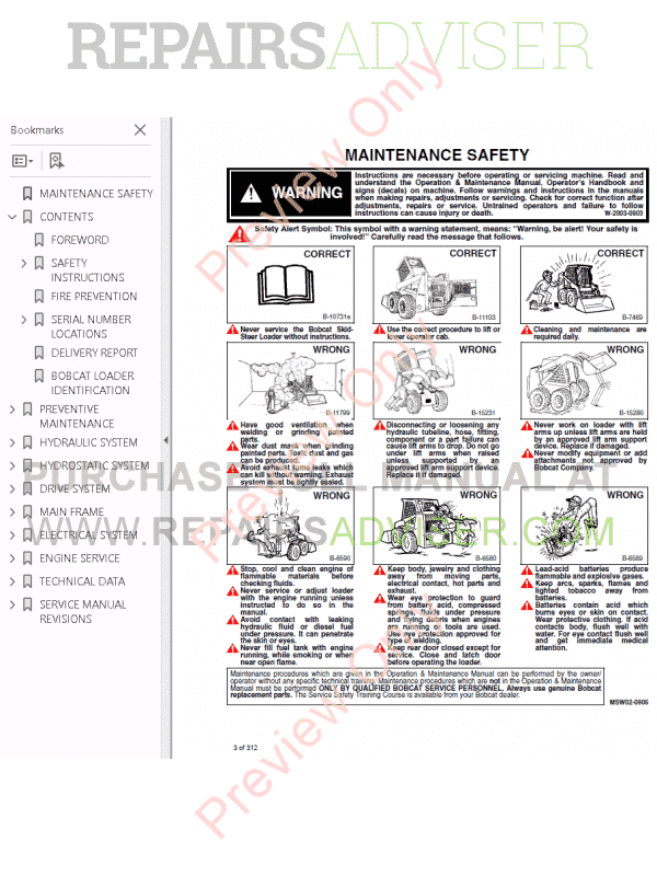 Bobcat Skid Steer Loader 980 Service Manual PDF Download