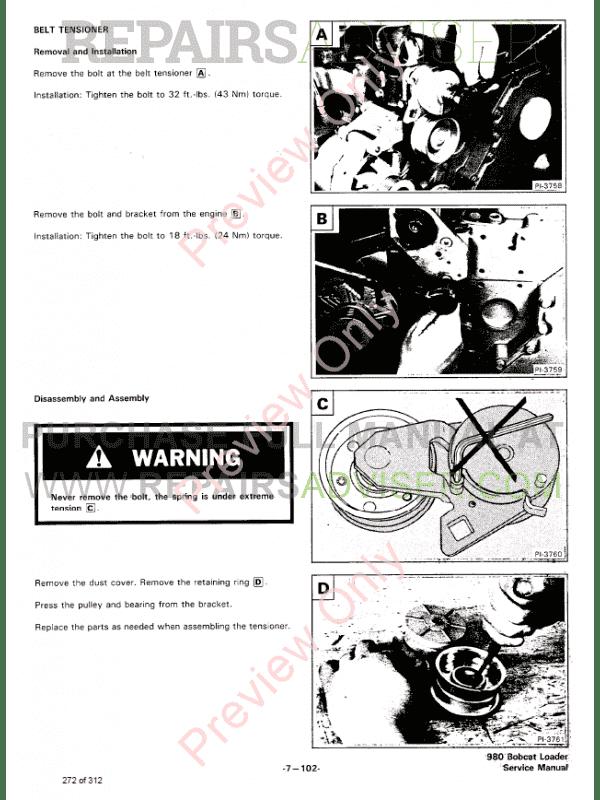 Bobcat Skid Steer Loader 980 Service Manual PDF Download