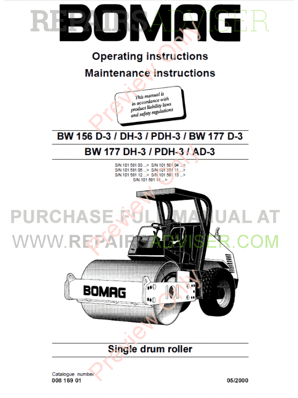 Bomag BW 156/177 D/AD/DH/PDH-3 Maintenance Instruction PDF