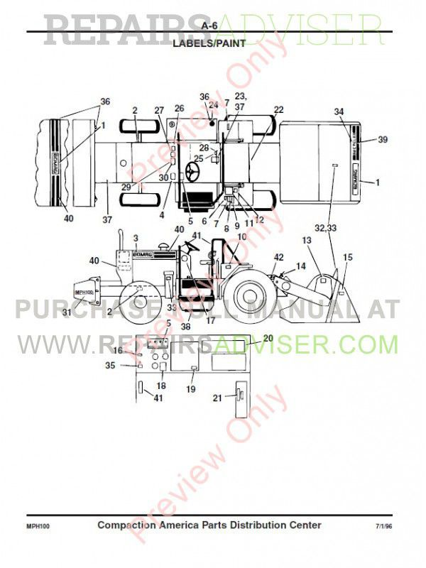 Bomag MPH 100 R/S Recycler and Stabilizer Parts List PDF
