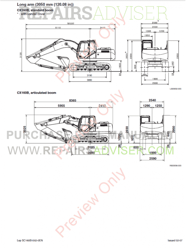Case CX160B-CX180B Crawler Excavators Service Manual PDF