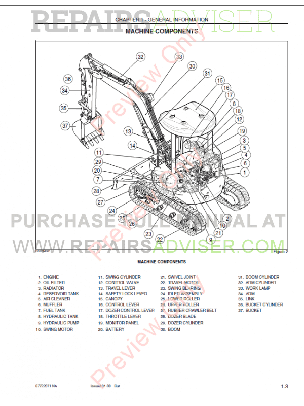 Case CX31B, CX36B Tier 4 Excavators Service Manuals PDF