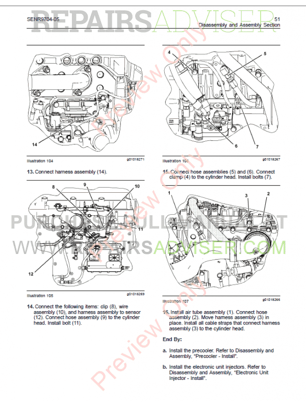 Cat C11, C13 On-Highway Engines Disassembly, Assembly