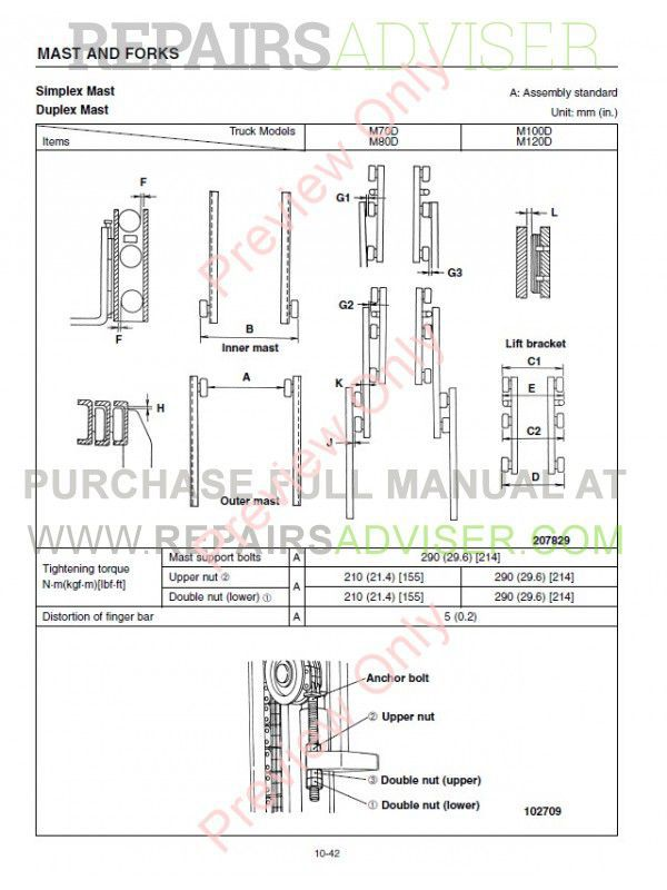 Caterpillar M70D M80D M100D M120D Forklifts Service Manual