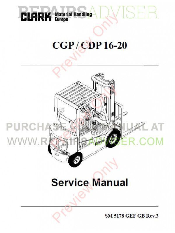 Clark CGP / CDP 16-20 Forklift Trucks Service Manual PDF