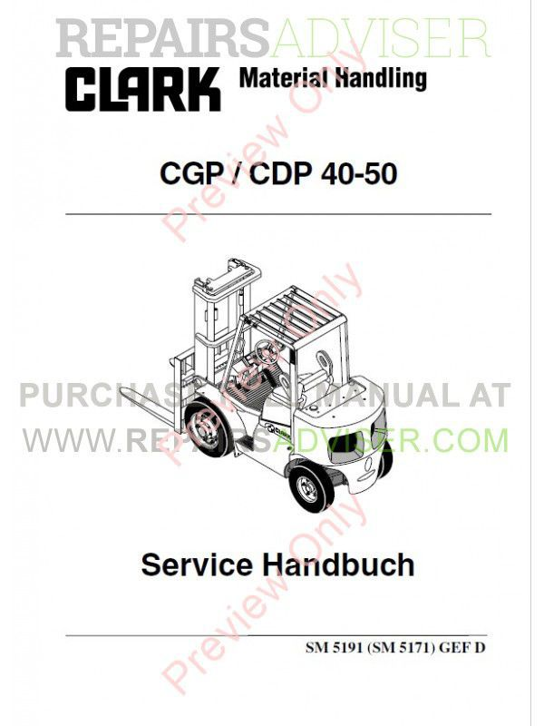 Clark CGP / CDP 40-50 Forklift Service Manual PDF Download