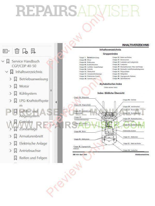 Clark CGP / CDP 40-50 Forklift Service Manual PDF Download