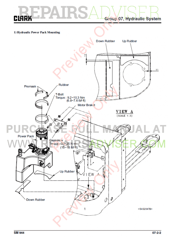 Clark Forklift Stacker SX12/16 Service Manual PDF