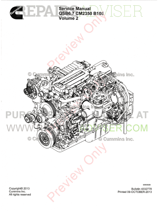 Cummins Engine QSB6.7 CM2350 B105 Service Manual PDF Download