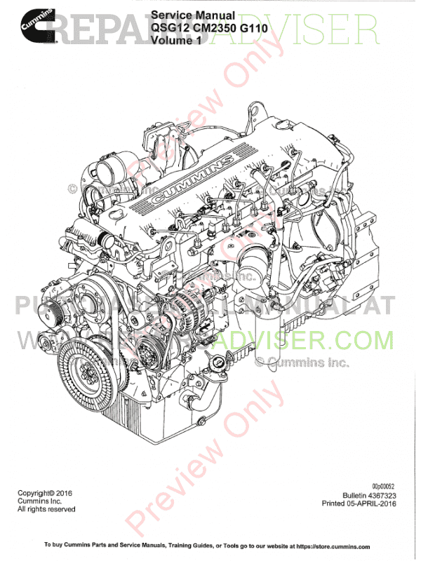 Cummins Engine QSG12 CM2350 G110 Manual Volume 1 / 2 PDF