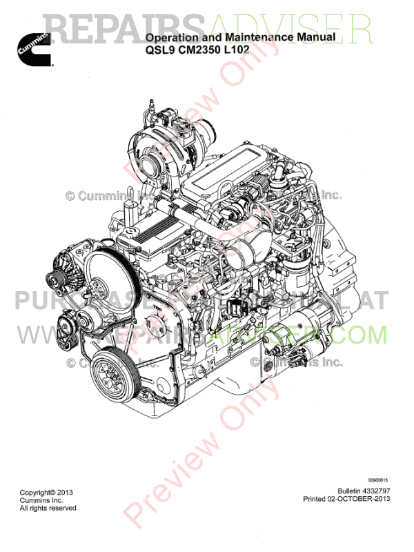 Cummins Engine QSL9 CM2350 L102 PDF Operation Manual Download