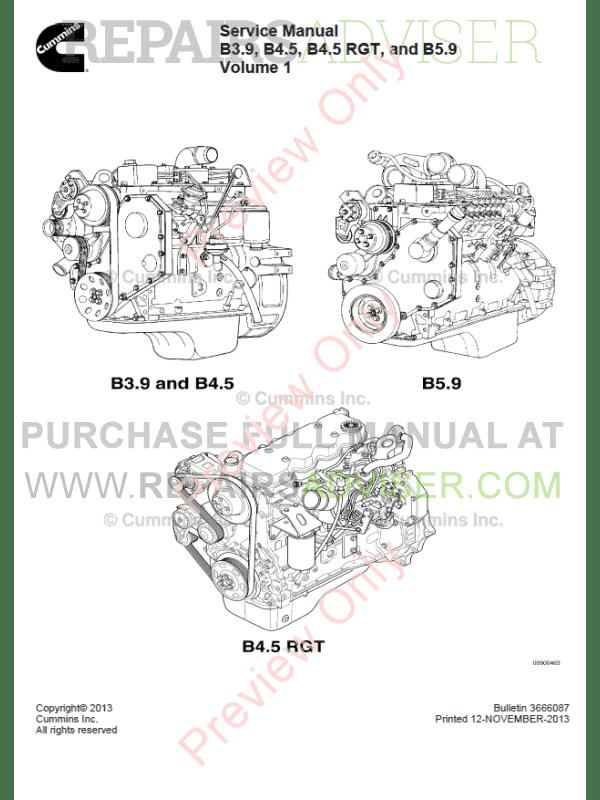 Cummins B3.9, B4.5, B4.5 RGT, B5.9 Engines Service Manual