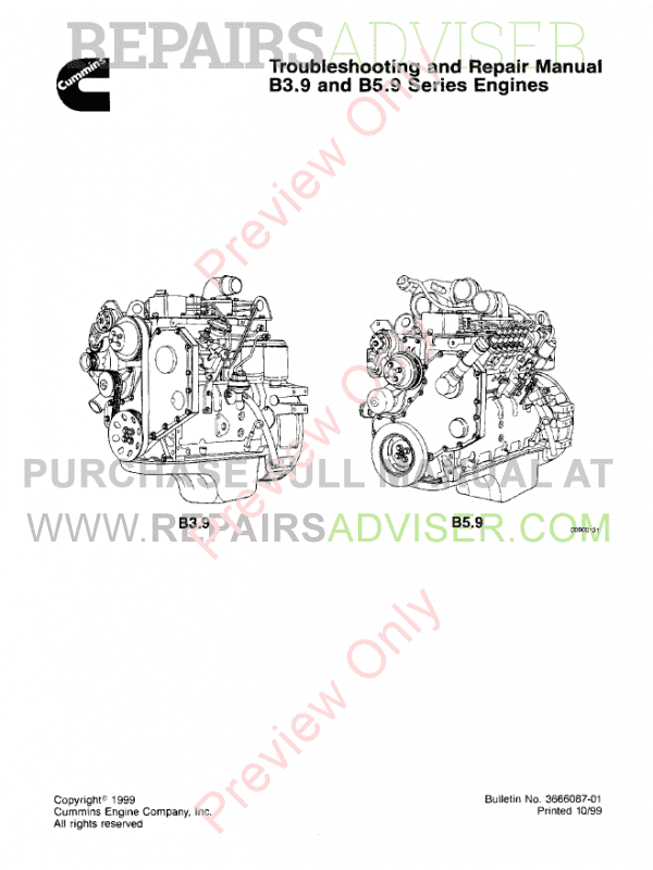 Cummins Engines B3.9, B5.9 Troubleshooting PDF Manual