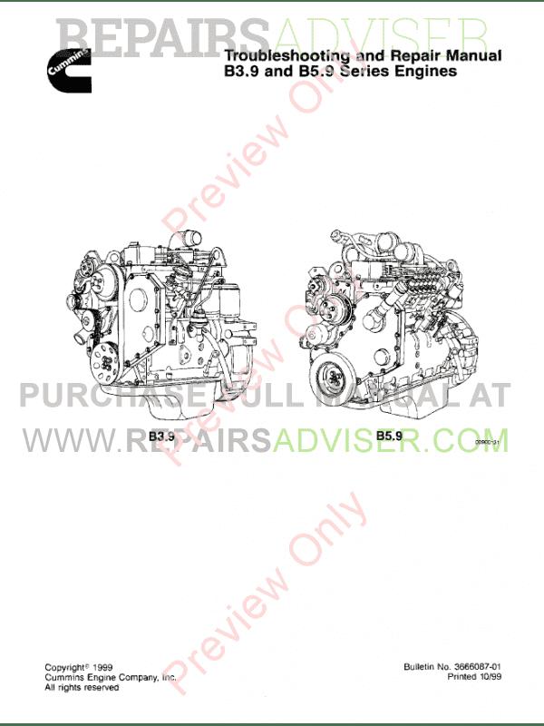 Cummins Engines B3.9, B5.9 Troubleshooting PDF Manual
