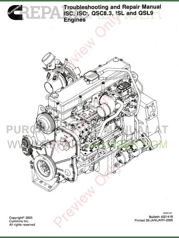 Cummins Engines ISC, ISCe, QCS8.3, ISL, QSL9 Repair Manual PDF