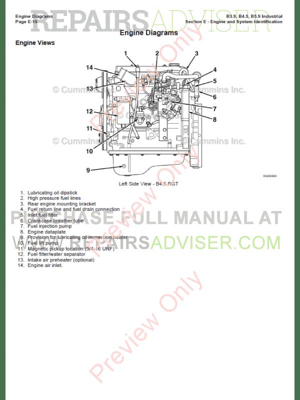 Cummins Industrial Engines B3.9, B4.5, B5.9 PDF Manual