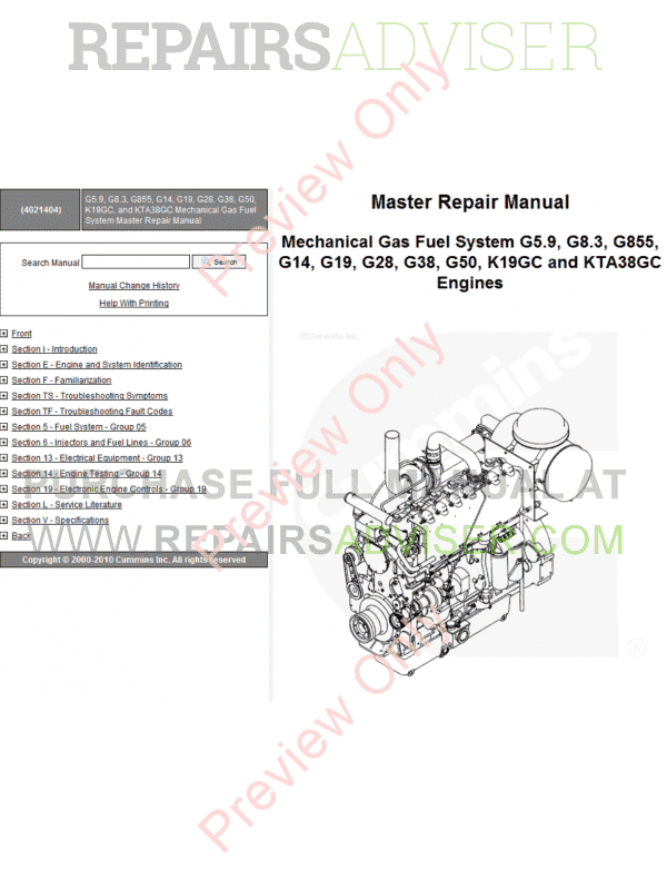 Cummins Mechanical Gas G5.9, G8.3, G855 G14-50 K19/KTA38GC PDF