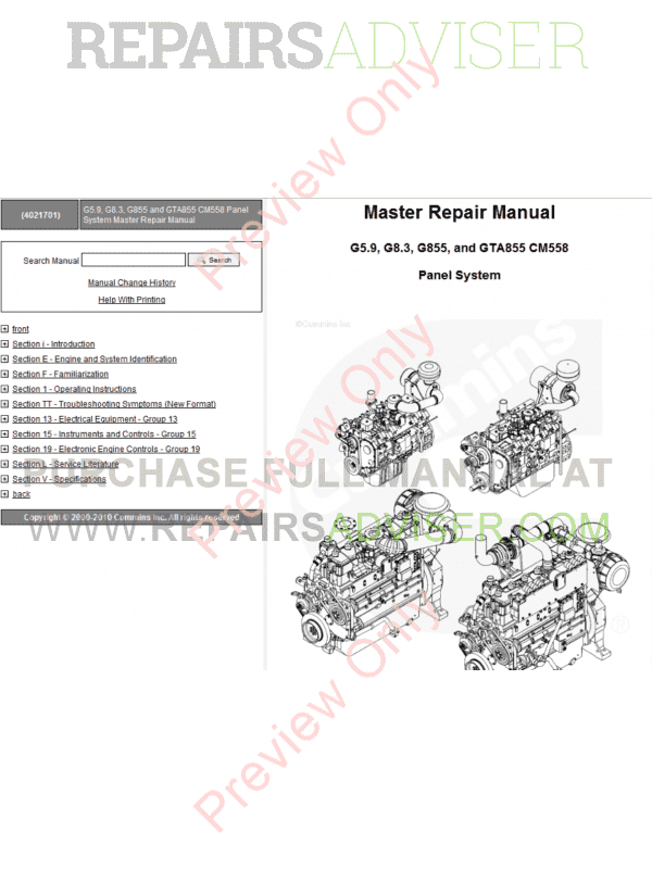 CUMMINS ENGINE V28 G28 SERVICE WORKSHOP REPAIR SHOP MANUAL