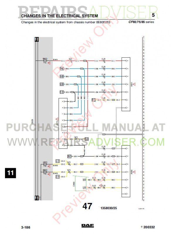 DAF Truck CF65 CF75 CF85 Diagrams PDF Instant Download