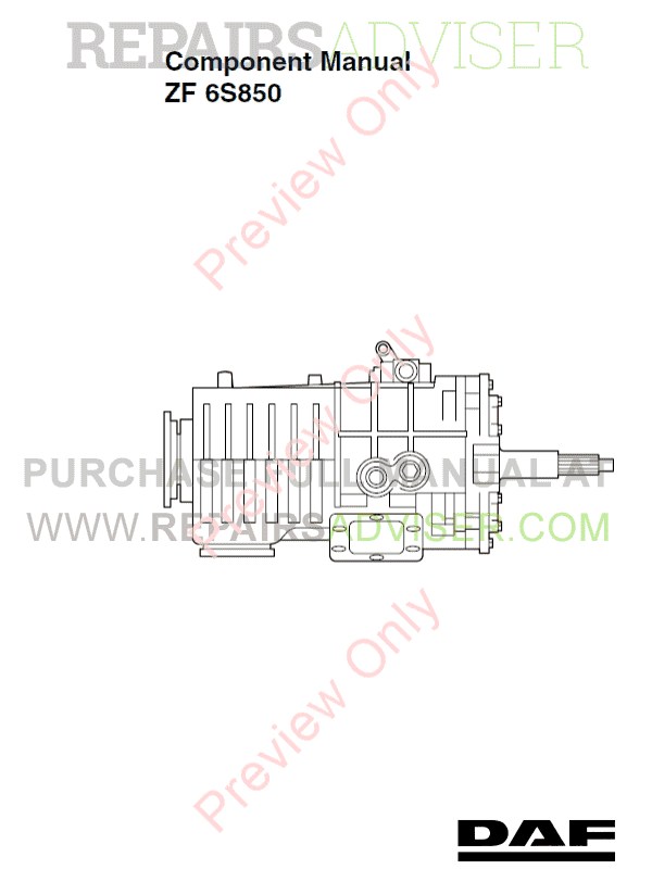 DAF Transmission ZF 6S850 Component Manual PDF