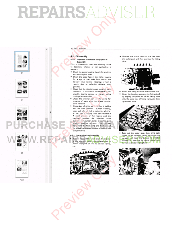 Daewoo D1146/D1146T, D2366/D2366T Diesel Engine Service Manual PDF Download