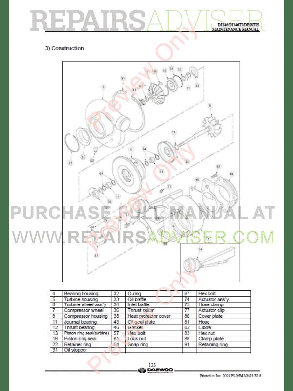 Daewoo Doosan D1146 D1146TI DE08TIS Diesel Engine