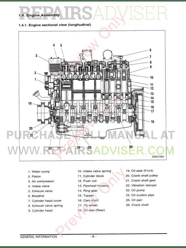 Daewoo Doosan D1146 D1146TI DE08TIS Diesel Engine Shop