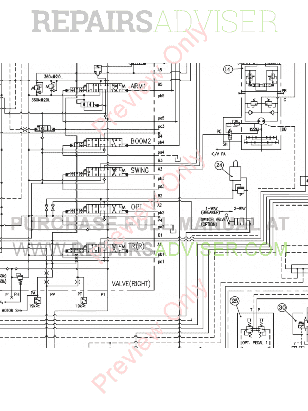 Daewoo S250/S255 LCV Crawler Excavators Schemes Set of PDF