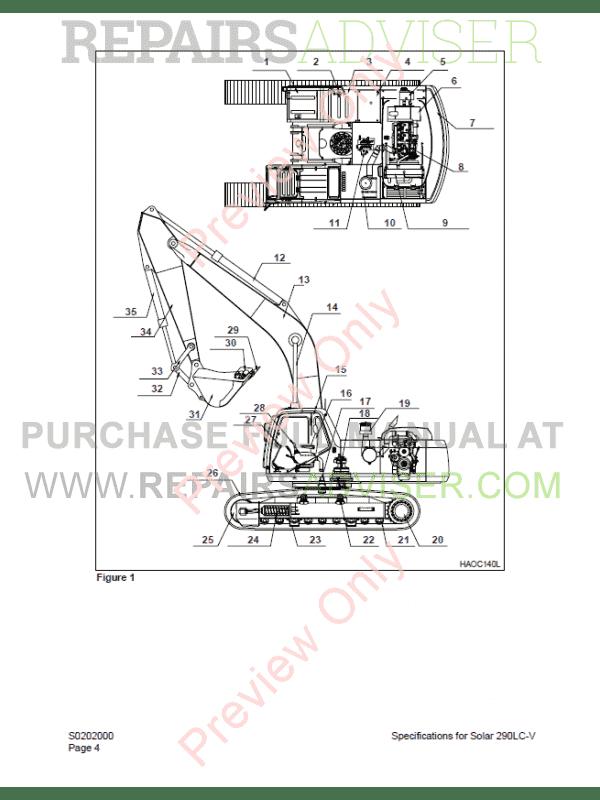 Daewoo Solar 290LC-V Track Excavator Shop manual of PDF