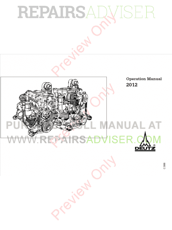 Deutz Diesel Engines BF4M 2012 PDF Operation Manual Download