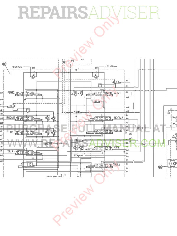 Doosan DX225LC-3 Crawler Excavator Schemes Set of PDF Download