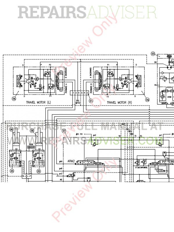 Doosan DX300LC-3/5 Hydraulic Excavator Schemes Set of PDF