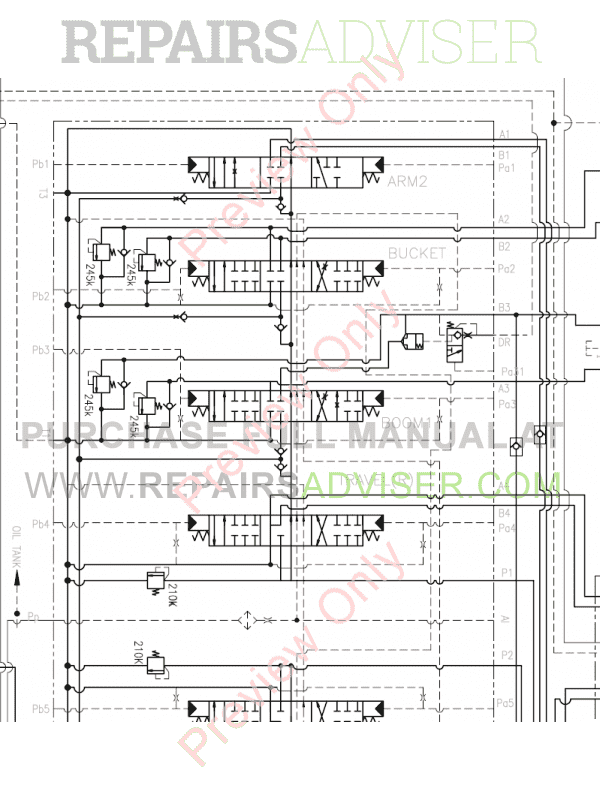 Doosan Daewoo DX55 Mini Excavator Schemes Set of PDF Download