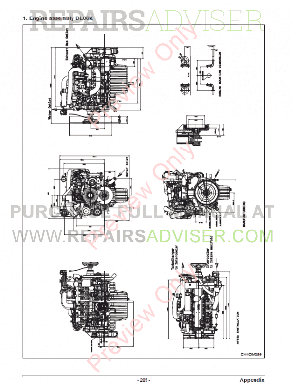 Doosan Diesel Engine DL06K Tier4 Interim Maintenance
