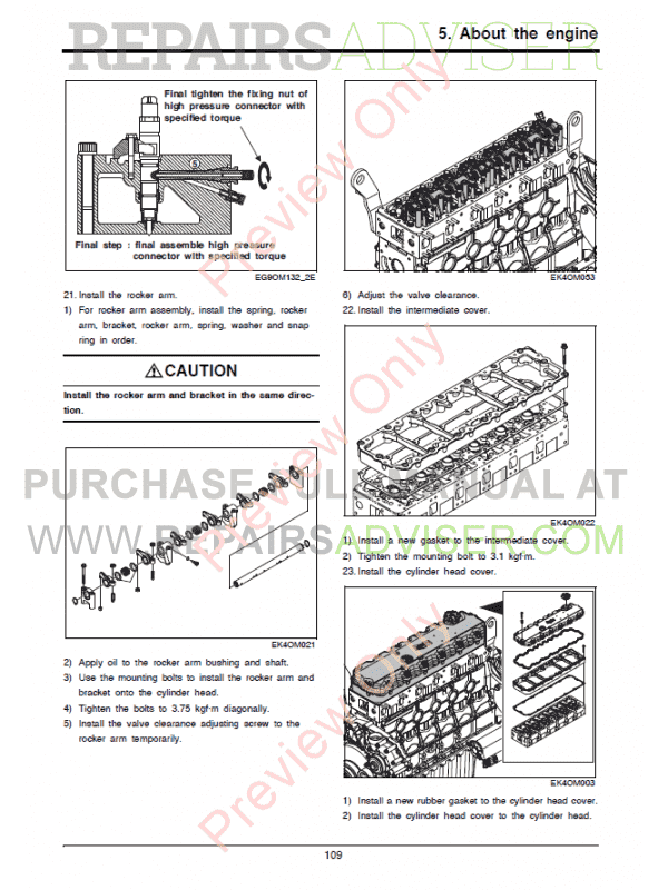 Doosan Diesel Engine DL06P Tier4 Final Maintenance Manual PDF
