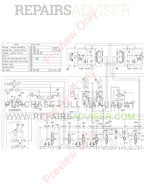 Doosan Heavy Excavator DX340LC-3 Set Schematics of PDF