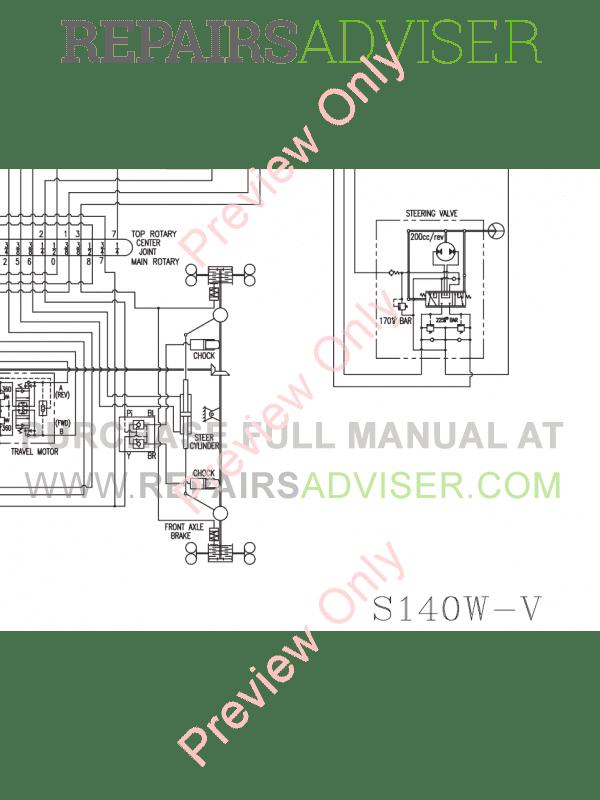 Doosan S140W-V Wheel Excavator Schemes Set of PDF Download