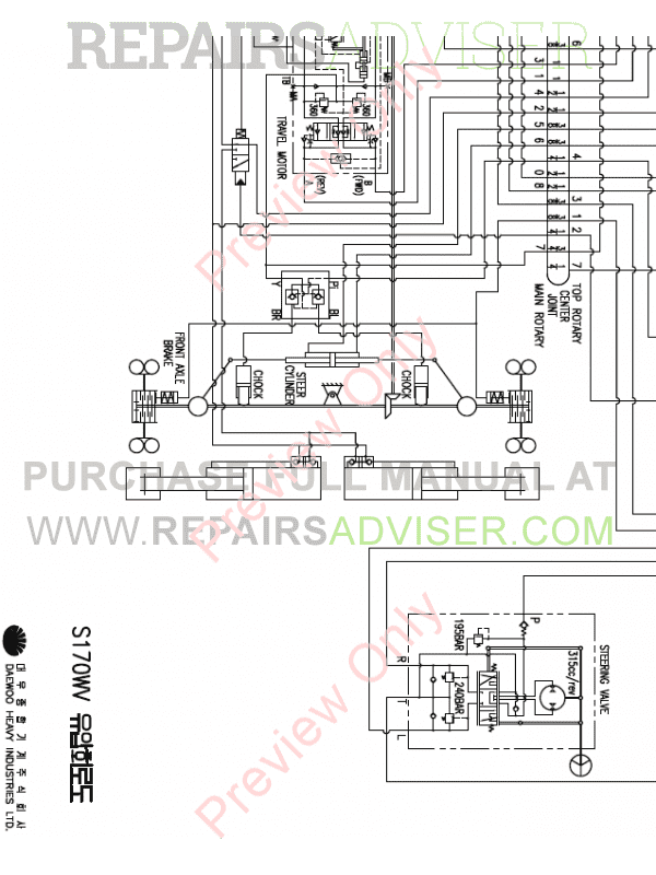 Doosan S170W-V Wheel Excavator Schemes Set of PDF Download