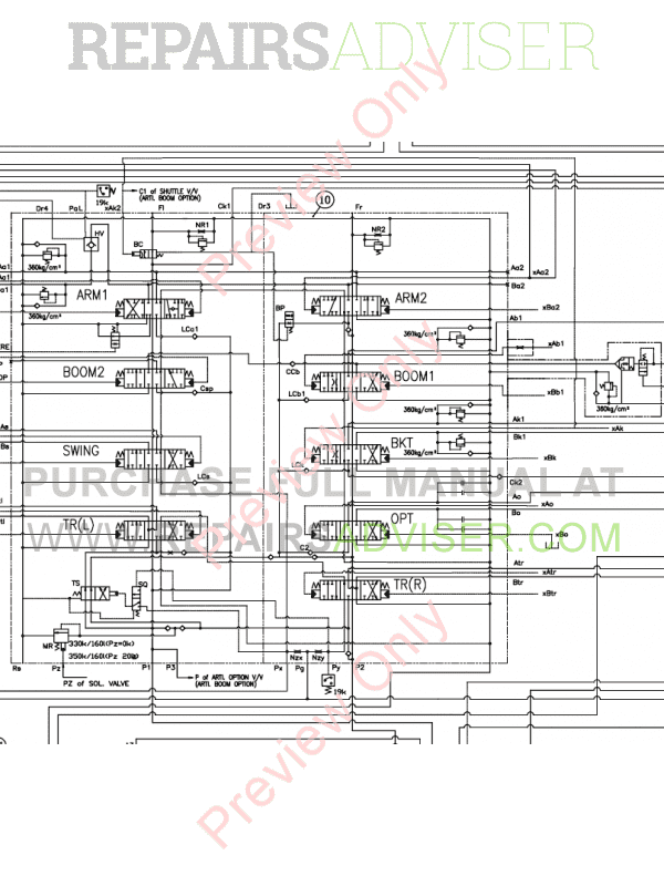 Doosan S175LCV Hydraulic Excavator Schemes Set of PDF Download