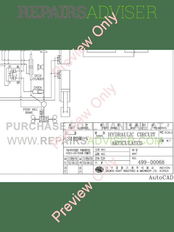 Doosan S180W-V Wheel Excavator Schemes Set of PDF Download