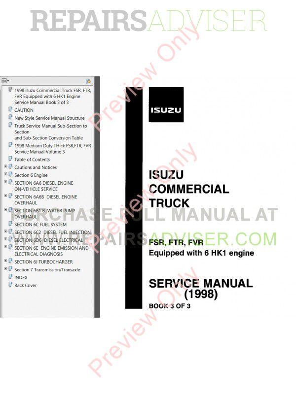 Isuzu Commercial Truck FRR/W5 & FRR/FTR/FVR (6HK1) Service