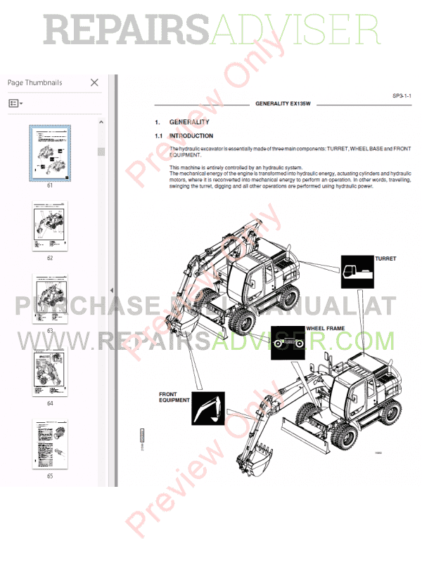 Fiat Hitachi Excavators EX135W Workshop Manual PDF Download