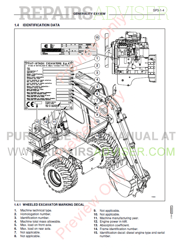 Fiat Hitachi Excavators EX135W Workshop Manual PDF Download