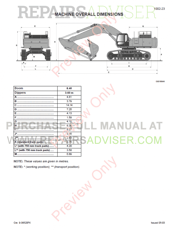 Fiat Kobelco Crawler Excavator E805 Workshop Manual PDF